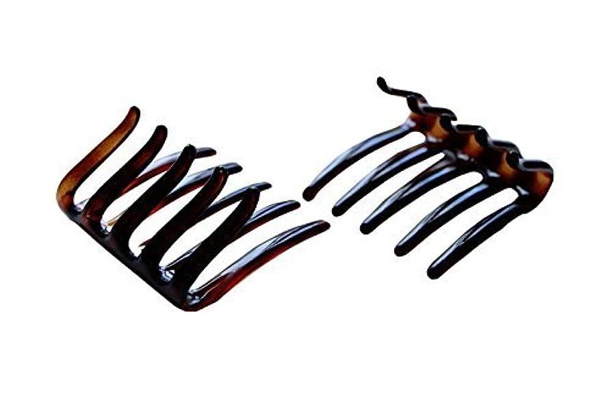 卑しい風景青Parcelona French Crab Interlocking Medium Celluloid Shell Hair Clip Side Comb 2 1/4 Inches [並行輸入品]
