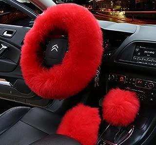 APFoo Universal 15 Inch Car Vehicle Steering Wheel Cover Pure Australia Sheepskin Wool Wheel Cushion Protector & Handbrake Cover & Gear Shift Cover Red 1 Set 3Pcs