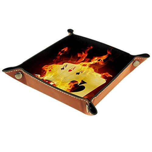 ATOMO Bandeja de almacenamiento de cuero Casino Poker amarillo llave de fuego joyería Catchall Sundries organizador de mesita de noche pequeña bandeja de almacenamiento de llaves de teléfono joyería