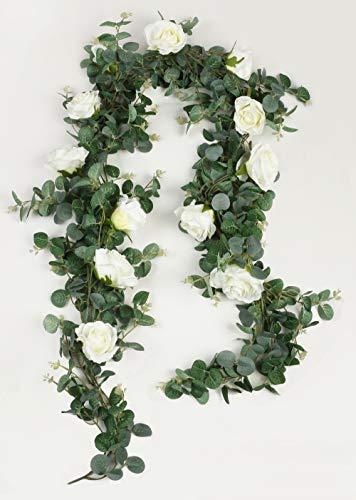 Falflor Greenery Garland with Rose Flowers 2Pcs 13Ft/Total Real Look Eucalyptus Artifiical Garland Wedding Vine(2PCS)