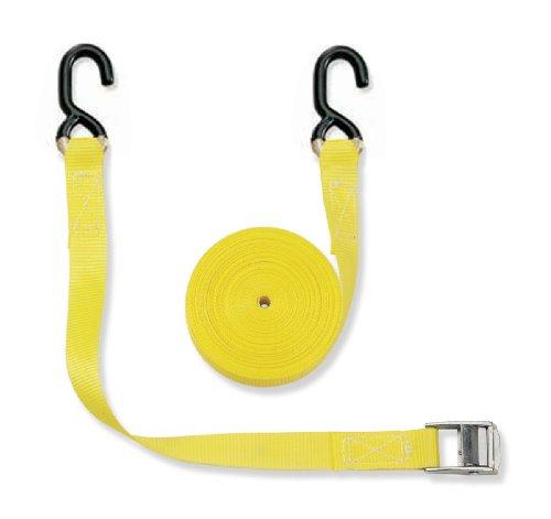 Braun Spanngurt 400 daN, zweiteilig, für Privattransporte, nach DIN EN 12195-2, Farbe Gelb, 2 M Länge, 25 mm Bandbreite, mit Klemmschloss und S-Haken