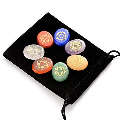 Piedras curativas naturales para chakras Hivexagon, juego de 7 piedras de preocupación con símbolos, cristales curativos de energía y reiki para meditación, concentración, crecimiento espiritu