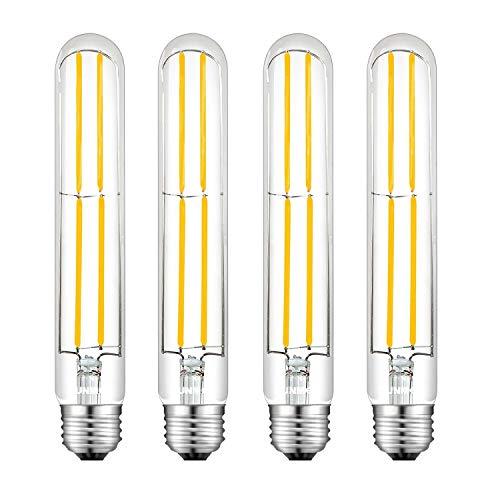 SUNMEG 8W T10 Tubular Bulb, LED Filament Bulbs Dimmable, 7.5 Length, Warm White 2700K, E26 Base 360 Degree Beam Angle, Equivalent to 80W Incandescent Bulb