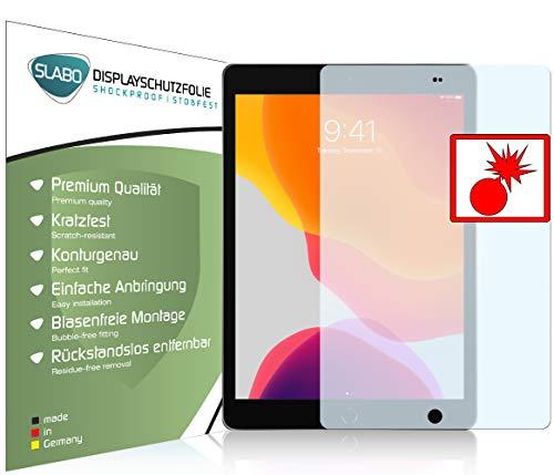Slabo 2 x Panzerschutzfolie für iPad 10.2 (7. Generation | 2019) | iPad 10.2 (8. Generation | 2020) Wi-Fi + Cellular Panzerfolie Bildschirmschutzfolie Schutzfolie Folie Shockproof KLAR