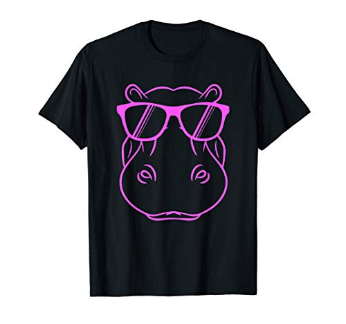 Cooles Nilpferd Niedliches Nilpferd mit Sonnenbrille Design T-Shirt