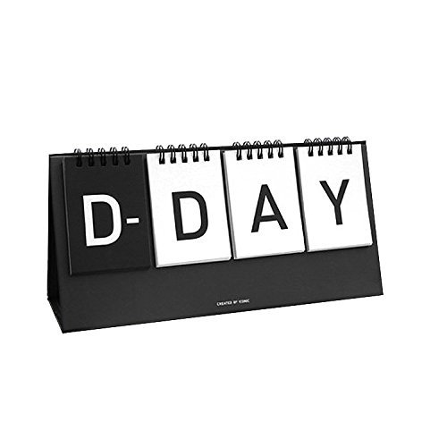 "D-Day Perpetual Desk Calendar D-Day Count down Flip Calendar Desktop Easel Calendar Spiral Bound Calendar Planner, Decorative Stickers Included, 9.84""X4.72"" (Black)"