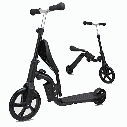 CBPE 2-in-1 | 2 Wheels Kick Scooter with Removable Seat, Balance Bike, 3 Adjustable Height Kids Scooter, Best Birthday Gift for Baby Boys and Girls Age 2-8 (Black)