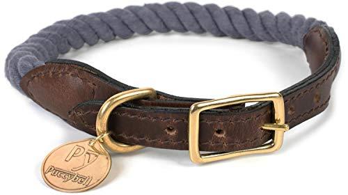 Puccybell Hundehalsband aus geflochtenem Seil und Leder, Nautisches Design, Tau Halsband für Hunde HB002 (S, Grau)