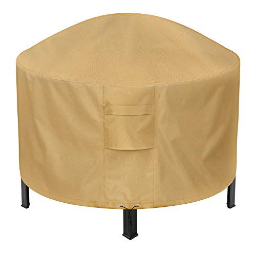 Sunkorto Round Fire Pit Cover, 50 Inch Patio Outdoor Firepit Table Cover Waterproof 600D Heavy Duty Wear-Resistant, Light Brown