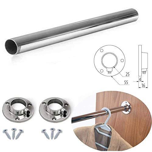 Barra de cromo pulido ovalada para armario, ideal para colgar, cortada a medida con soportes de extremo y tornillos