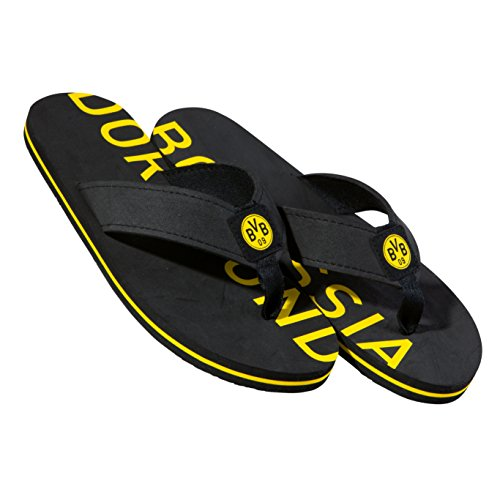 Borussia Dortmund Badeschuhe/Badelatschen/Badeschlappen/Strandschuhe BVB 09 - Plus gratis Aufkleber Forever Dortmund (44/45)