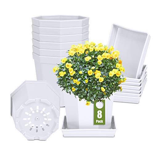 8 vasi da coltivazione ottagonale, diametro 10 cm, con sottovaso, in plastica resistente alle intemperie (bianco)