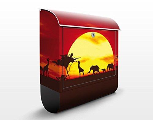 Buzón de diseño no.CG80 Sunset Caravan 39x46x13cm, acero inoxidable, buzón, diseño buzón, postbox, diseño de correos con compartimento para periódicos, caja, Tamaño: 46cm x 39cm