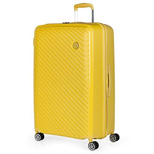 ITACA - Maleta de Viaje Grande 4 Ruedas Trolley 75 cm Rígida de Polipropileno. Práctica Cómoda Ligera y Bonita Marca de Confianza y Estilo. Candado TSA. 760070, Color Amarillo