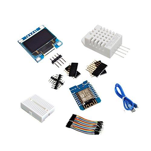 Equipo de Bricolaje de la estación meteorológica ESP8266 Kits de Arranque IOT para Arduino con Pantalla OLED de 0.96 OLED Mini Módulo inalámbrico de Bluetooth WiFi