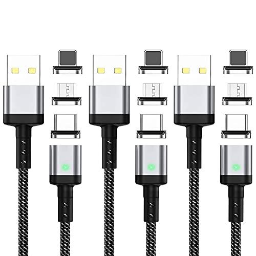 Cable Magnético, 3 In 1 Cargador Magnético 3A Cable de Carga Rápida con LED Cargador iman, 480Mbps Cable de Transferencia de Datos por Micro USB, Tipo C Y Otra (3-Pack, 2M +2M+2M)