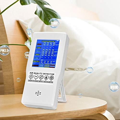InLoveArts Monitor de calidad del aire Probador de aire para formaldehído CO2 (HCHO) TVOC AQI PM2.5 PM10 Detector de gas de aire multifuncional Medidor de CO2 para oficina en casa