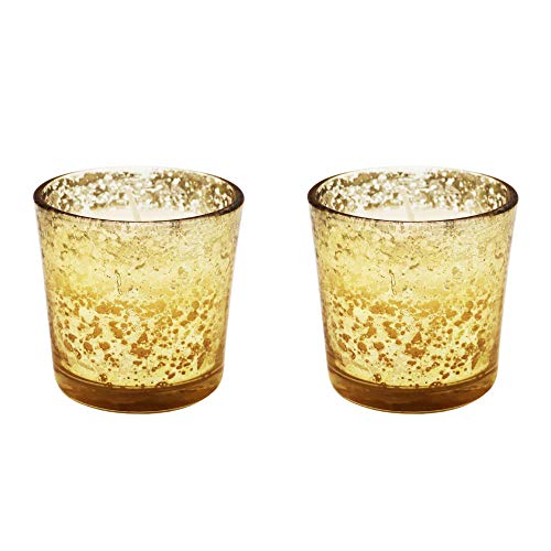 Alchemade Antique Gold Glass 2.3 Inch Votive Candles with Vanilla Scented Wax-Set of Two