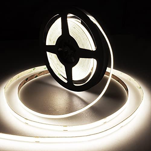 White COB LED Strip Lights, 16.4ft Flexible 480LEDs/M LED Tape Light DC24V Natural White 4000K CRI 90+ LED Rope No Dot Bendable Linear Lights for Bedroom Kitchen Home Indoor Under Cabinet DIY Lighting