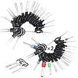 59 Pcs KFZ Kabel Stecker Ausbau Werkzeug Terminal Steckverbindung Demontage Pin Extractor Tool Entriegelungswerkzeug für Flach- und Rundsteckkontakte
