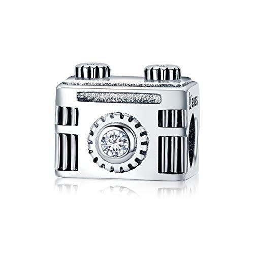 FeatherWish Ciondolo a forma di macchina fotografica con zirconia cubica, in argento Sterling 925, per braccialetti Pandora
