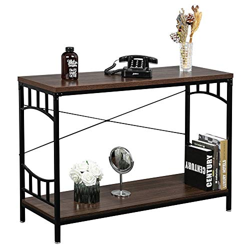 "Bonnlo Vintage Console Table Wood and Metal Frame Entryway | Hallway Table with 2 Open Shelf for Living Room,Foyer,Hall | 43.3""L x 13.7""W x 29.5""H Espresso"