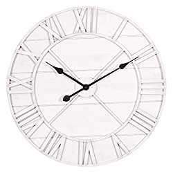 Patton Wall Decor 24 Inch Monochromatic Whitewash Roman Numeral Wall Clock, White