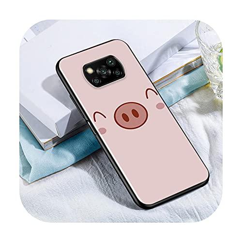 Phone cover Lindo Kawai Pig Para Xiaomi Poco X3 Nfc M3 M2 X2 F3 F2 Pro C3 F1 Mi Play Mix 3 A2 A1 6X 5X Negro Teléfono Case Style 06-Para Xiaomi Poco X3 Nfc