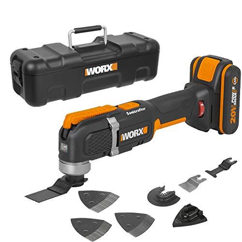 WORX WX696 Akku-Multifunktionswerkzeug – Elektrisches 20V Werkzeug zum Schneiden, Sägen, Schleifen & mehr – Mit Akku, Ladegerät & Koffer
