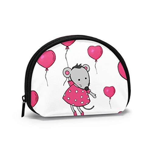 Mädchen Münztasche Nette Maus halten Ballons Tasche Geldbörse Mädchen Geldbörse Mit Reißverschluss Mini Kosmetik Make-up Taschen Für Frauen Mädchen Party Geschenke Und Dekorationen