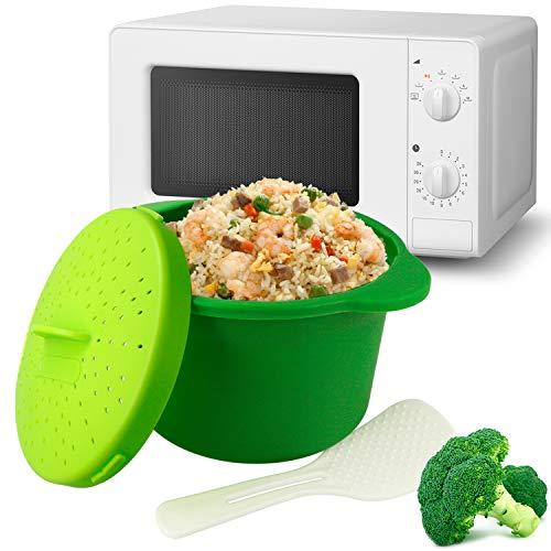 MovilCom - Olla de Vapor para arroz, cous cous, Quinoa, Pasta | Rice Cooker | Olla arrocera vaporera microondas | Color Verde