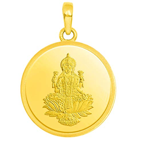 Candere by Kalyan Jewellers 2.30 Gms 24k (999) Yellow Gold Lakshmi gold coin Pendant for Women