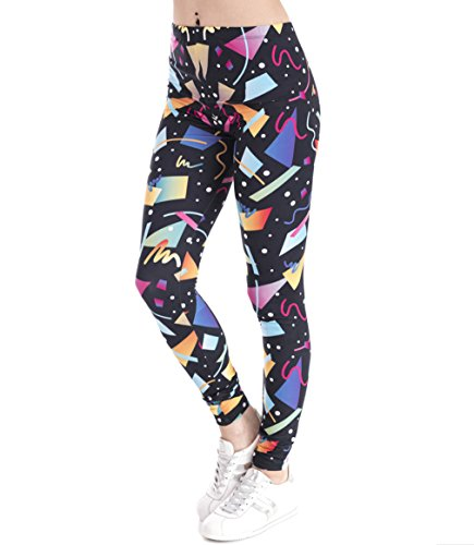 Black Leggings with Colorful 80s Geometric Pattern. Adult Sizes S, L, XL