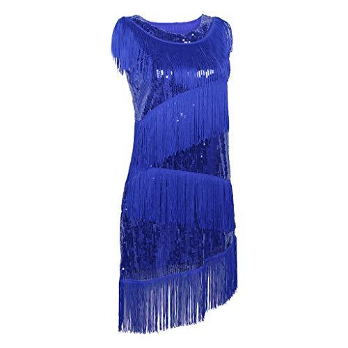 Amuzocity Vestido de Baile Latino con Flecos Vestido de Traje de Tango Ropa de Baile para Actuación en El Escenario - Azul real, unico