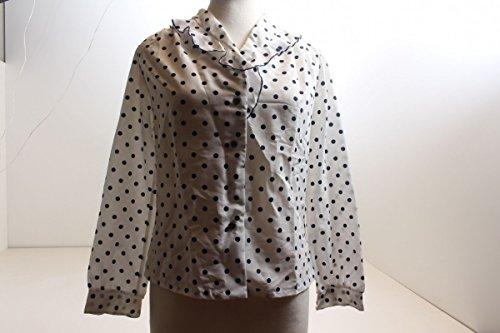 Unbekannt Weiße Bluse mit Blauen Punkten Rüschenkragen Gr. 40 100% Polyster Vintage