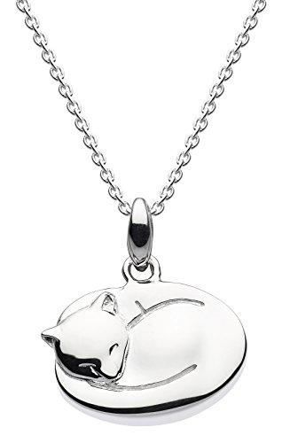 Dew Halskette aus Sterlingsilber, Anhänger mit schlafender Katze und 45,7cm Länge