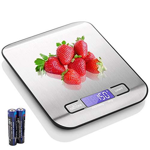 TWBEST Báscula Digital para Cocina,Báscula Digital para Cocina de Acero Inoxidable, 10kg Balanza de Alimentos Multifuncional, Peso de Cocina, (Baterías Incluidas)