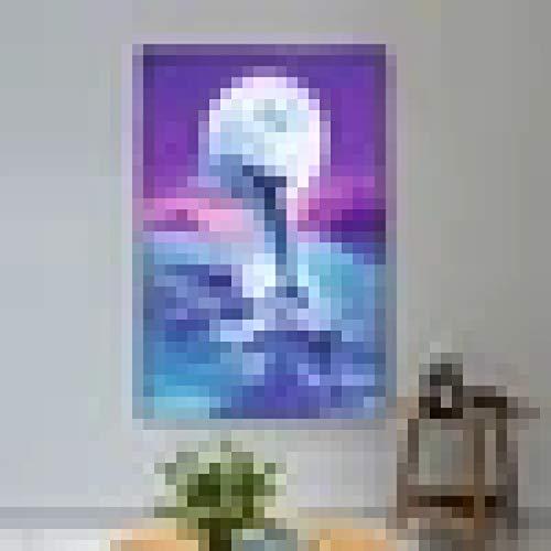 jijimidianzi GFJJTRB,Pintura de la Lona de la decoración de la Pared Delfines en la luz de la Luna Decoración de la Pared del hogar Minimalista Abstracta Pintura sin Marco del arte-60x80cm