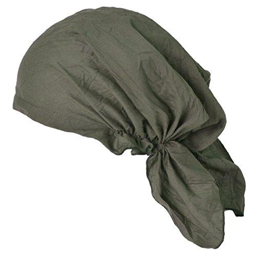 CHARM Pirate Bandana Head Scarf - Mens Balding Hair Cap Womens Headwrap Hat Chemo Wear Du Rag Cotton Summer Khaki