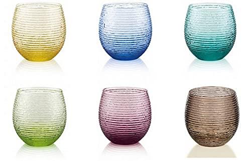 IVV Set 6 Bicchieri Acqua Vino Trasparente Multicolore Vetro 25 cl