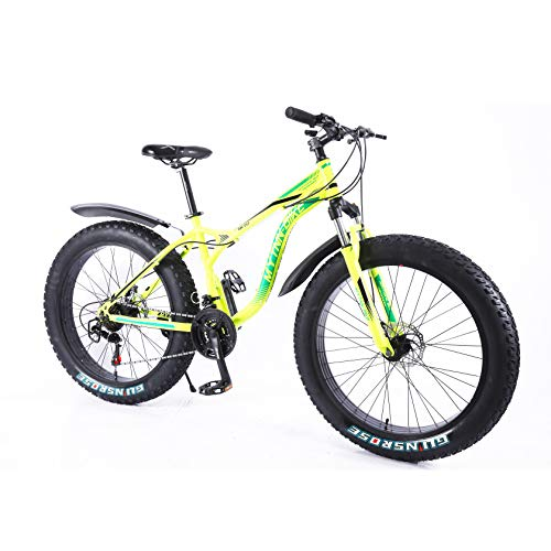 MYTNN Fatbike 26 Zoll 21 Gang Shimano Style 2020 Fat Tyre Mountainbike 47 cm RH Snow Bike Fat Bike (Gelb)