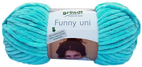 Gründl Funny - Hilo suave (100 g, 100% poliéster), color turquesa