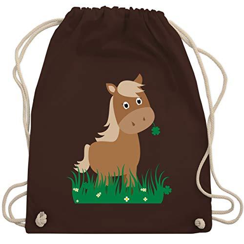 Shirtracer Tiermotive Kind - Süßes Pferd - Unisize - Braun - turnbeutel mädchen kindergarten - WM110 - Turnbeutel und Stoffbeutel aus Baumwolle