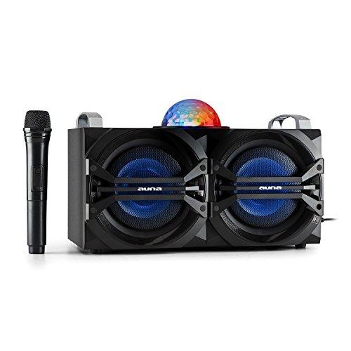 auna DisGo Box 265 - altoparlante DJ mobile , luce LED , 50 W RMS , 2 woofer da 6,5 ??', woofer da 1' , amplificatore di classe D , Bluetooth , porta USB , radio UKW , Karaoke , Telecomando , nero