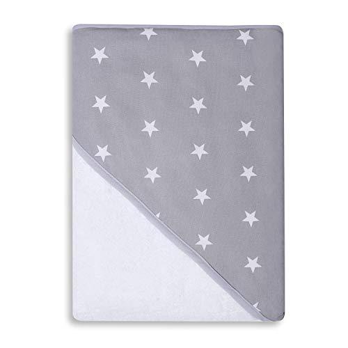 Sevira Kids - Sortie de bain - Cape de bain - Extra Large Coton 400 g/m2 Stars Gris