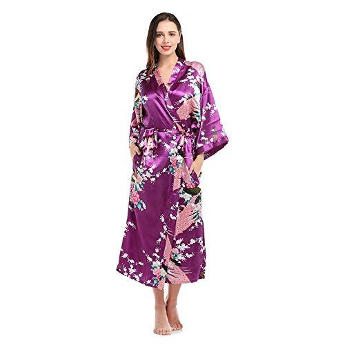 Pyjama Damen Nachthemd Schlafanzug Frauen Sexy Lange Seide Kimono Bademantel Bad Dessous Gürtel Bad Robe Nachthemd Dame Nachthemd M Darkpurple