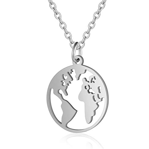 Necklaces Map Hollow Necklace Jewelry Creative World Map Hollow Out To Express Love Lady Metal Necklace Jewelry Gift