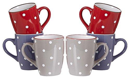 Ritzenhoff & Breker Kaffeebecher-Set Dots, 6-teilig, 300 ml, farblich Sortiert Geschirr, Keramik, 35 x 16 x 25 cm, 6-Einheiten