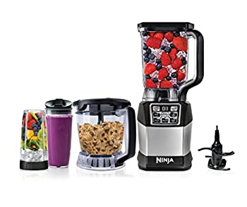 Ninja Blender and Food Processor System with 1200-Watt Auto-iQ Base 72 Oz Pitcher 40 Oz Blend & Prep Bowl Dough Tool and  2  24 Oz Cups with Lids  BL494  Black