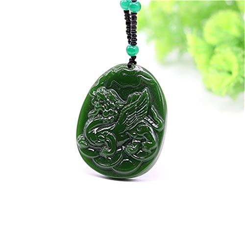 LIUXINDA-HZ Mujeres Chinas Colgante de joyería Moda Hombre Jadeíta Jade Tallado Amuleto Verde Dragón Regalos Charm Pixiu Collar Cuerda Natural Tamaño Ajustable.
